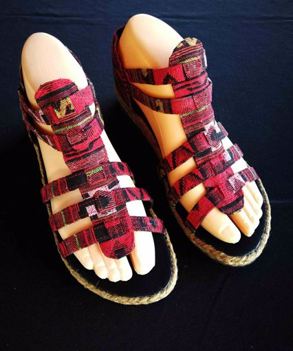 Imagen de Sandalia algodón tiras roja