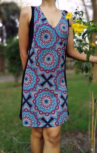 Imagen de Vestido franja estampado azul