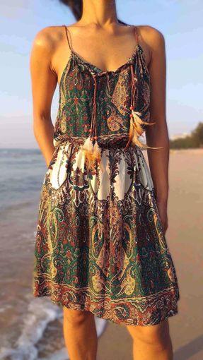 Imagen de vestido plumas verde